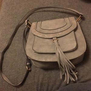 Cute faux leather gray cross body purse